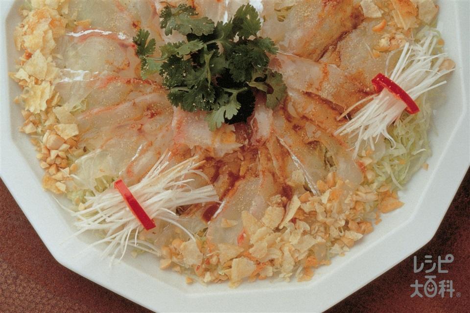 刺身のエスニック風(白身魚の刺身+レタスを使ったレシピ)