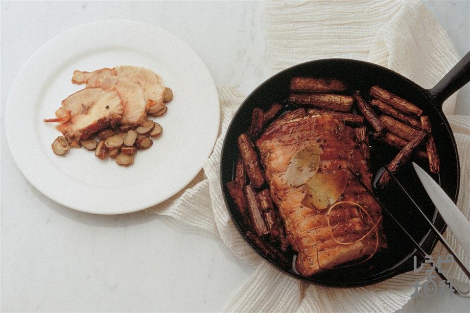 豚肉とごぼうのローストごま風味(豚ロースかたまり肉+ごぼうを使ったレシピ)