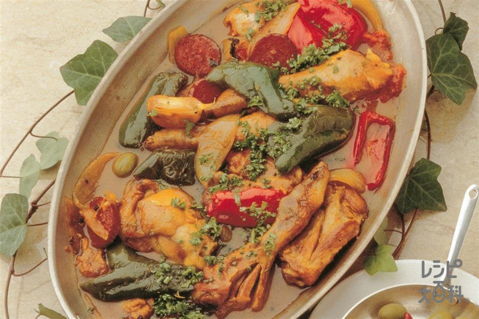 チキンとピーマンの南欧風(鶏骨つきもも肉+トマトを使ったレシピ)