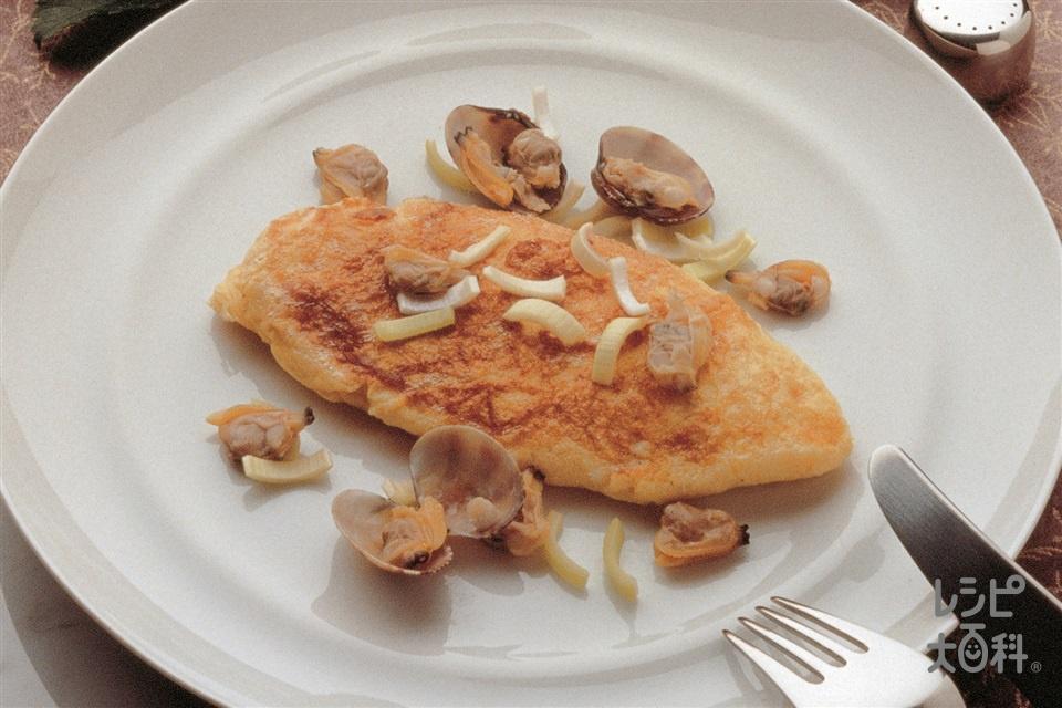 アサリのオムレツごま風味(卵+A「瀬戸のほんじお」を使ったレシピ)