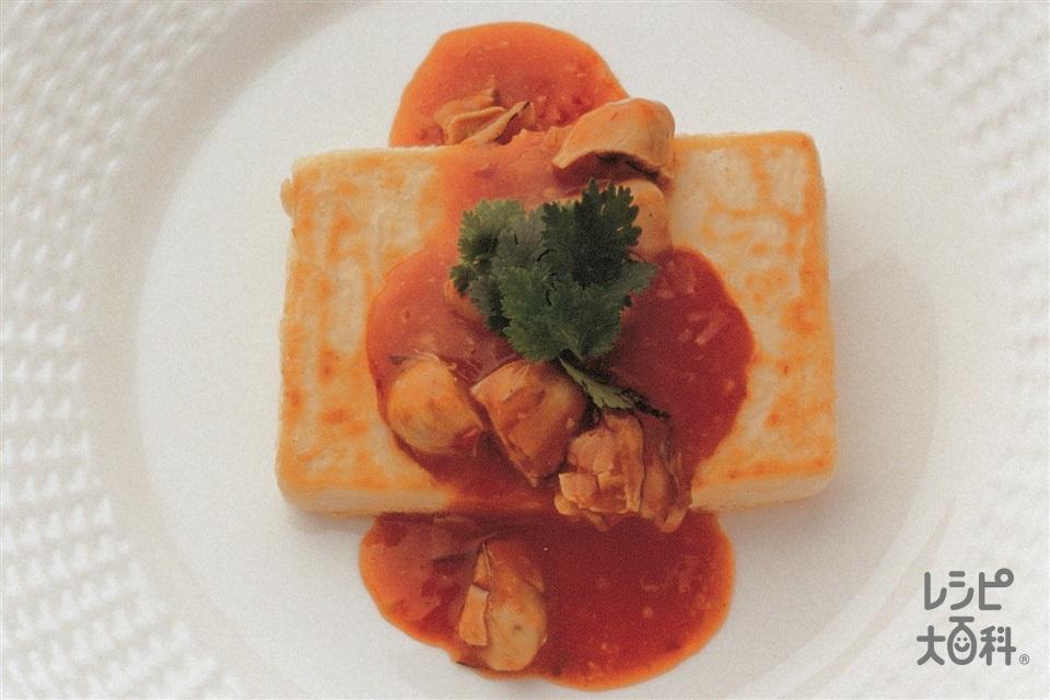 豆腐のステーキ チリソースかけ(絹ごし豆腐+かきを使ったレシピ)
