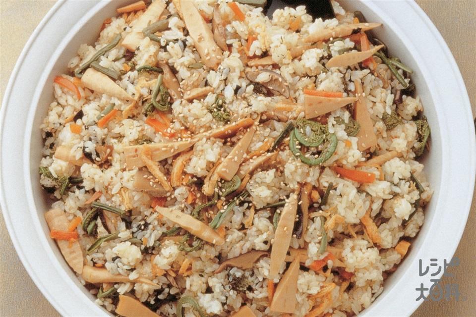 山菜ずし(米+姫たけのこの水煮を使ったレシピ)