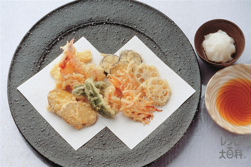 えび・いか・野菜の天ぷら(さつまいも+いか(胴)を使ったレシピ)