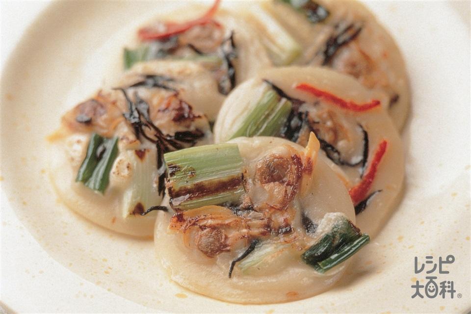 わけぎとひじきのミニお焼き(パプリカ(赤)+小麦粉を使ったレシピ)