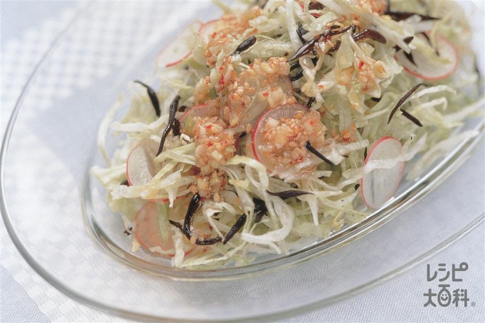せん切りレタスとひじきのサラダ(レタス+いり白ごまを使ったレシピ)
