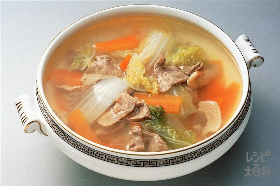 白菜と豚肉のスープ(白菜+豚薄切り肉を使ったレシピ)