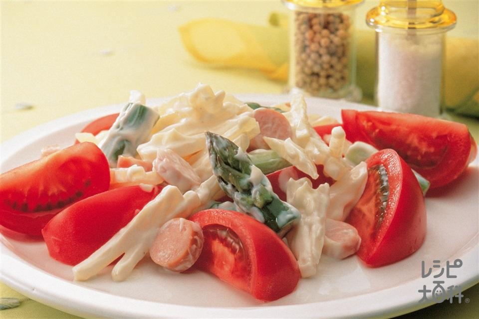 トマト・新じゃがいも・グリーンアスパラのサラダ(トマト+新じゃがいもを使ったレシピ)