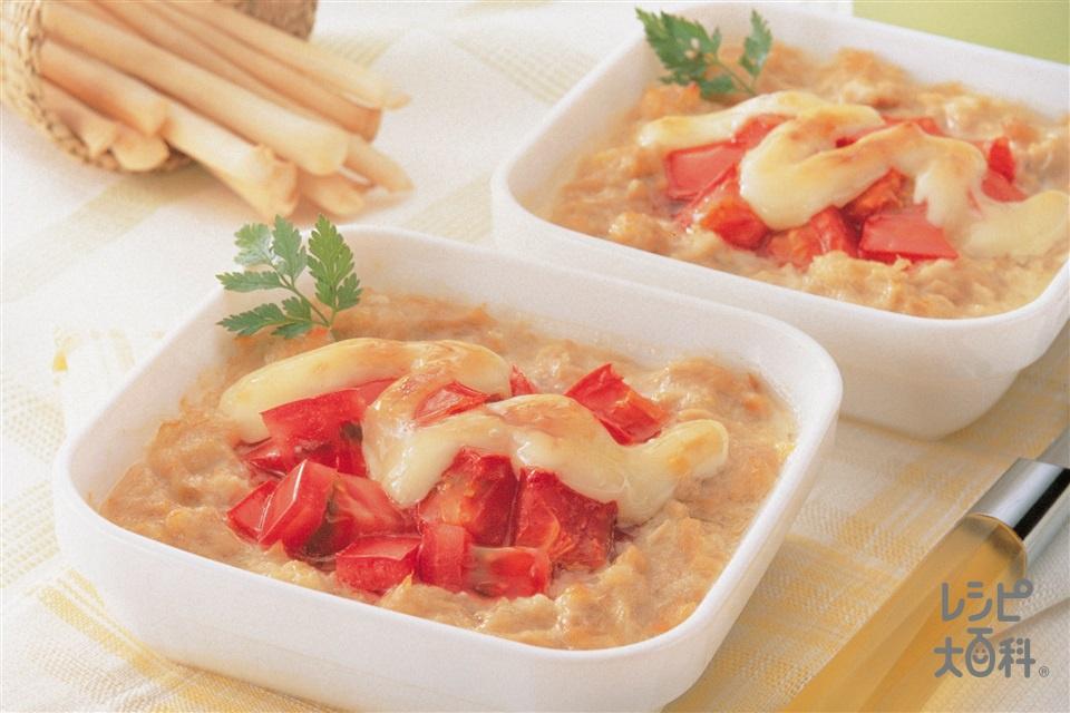 トマトとライトツナのマヨネーズグラタン(トマト+ツナ缶を使ったレシピ)
