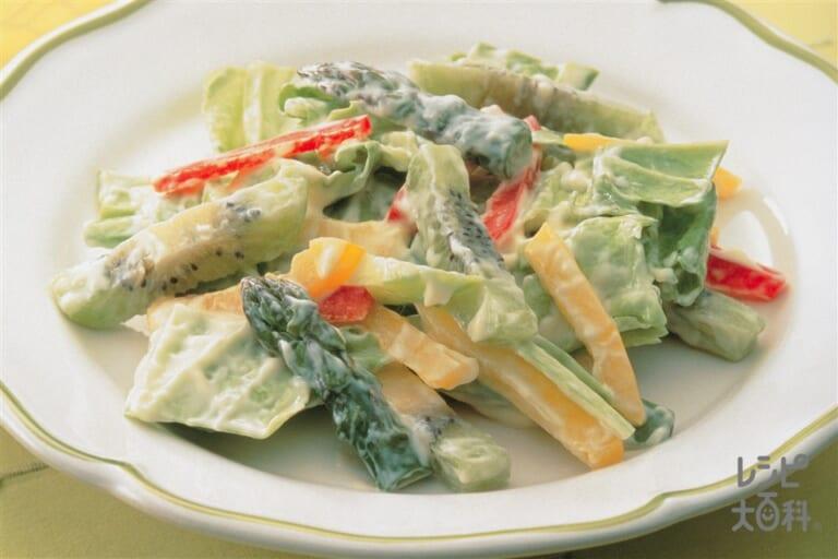 キウイとキャベツ・カラーピーマンのサラダ