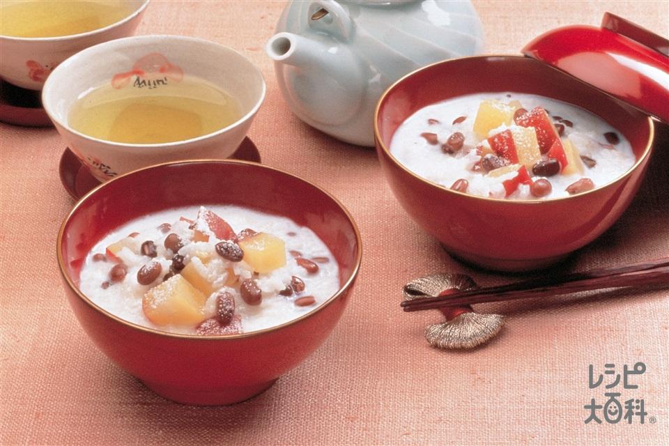 牛乳で作るおしるこがゆ(あずき(乾)+牛乳を使ったレシピ)