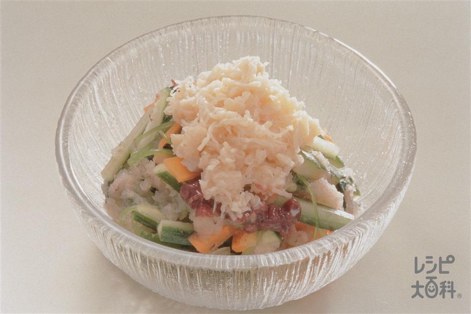 帆立缶ときゅうりの梅おろしあえ(帆立貝柱の水煮缶+きゅうりを使ったレシピ)