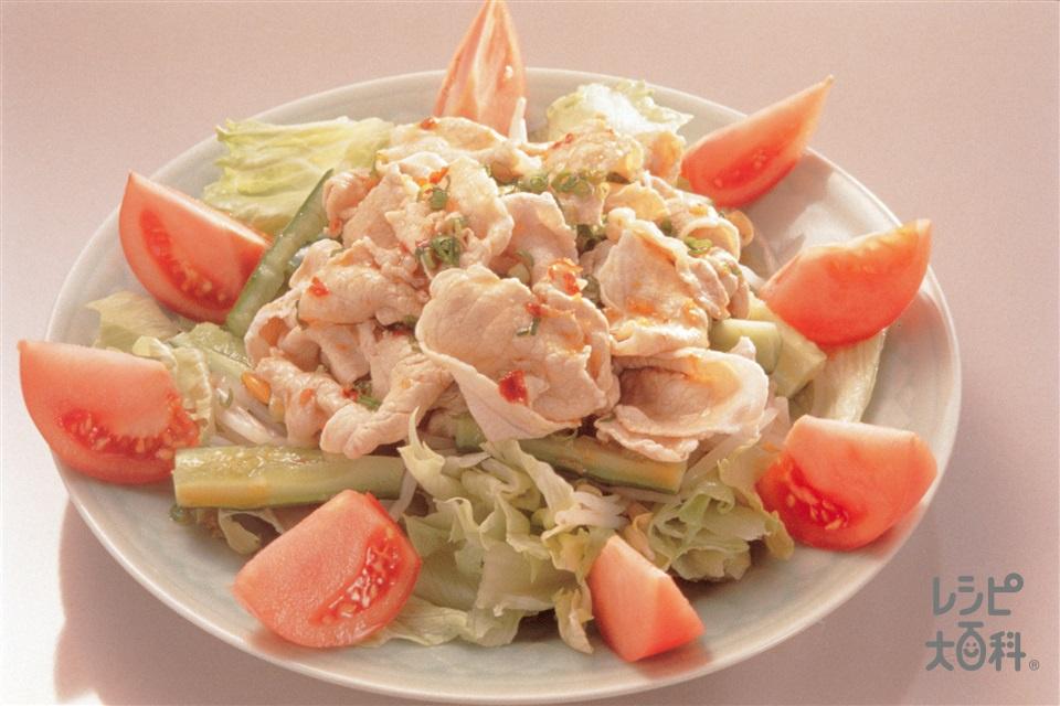 豚肉の中国風サラダ にんにくしょうゆダレ(豚もも肉+トマトを使ったレシピ)