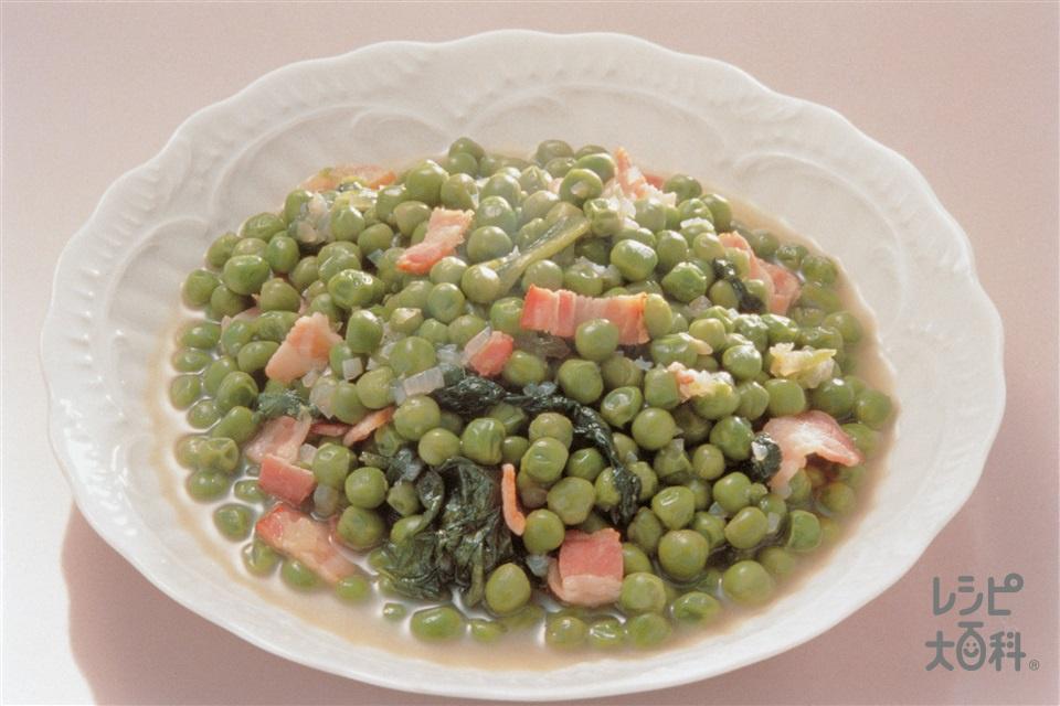 グリーンピースのフリカッセ(玉ねぎ+サラダ菜を使ったレシピ)
