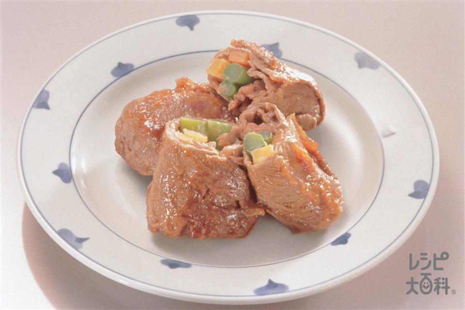 野菜の肉巻き(牛もも肉+小麦粉を使ったレシピ)