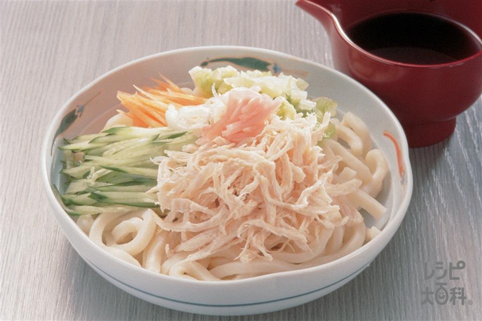鶏ささ身と野菜のせうどん(鶏ささ身+ゆでうどんを使ったレシピ)