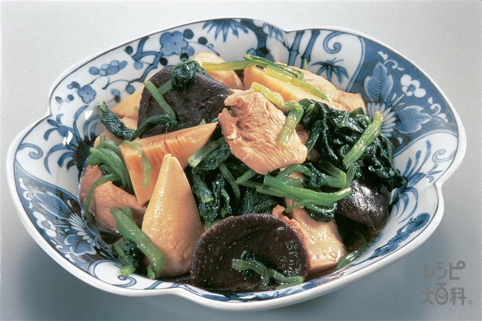 鶏肉と小松菜の煮もの(鶏むね肉+ゆでたけのこを使ったレシピ)