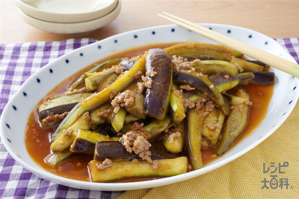 なすと豚ひき肉の甘辛煮(なす+豚赤身ひき肉を使ったレシピ)
