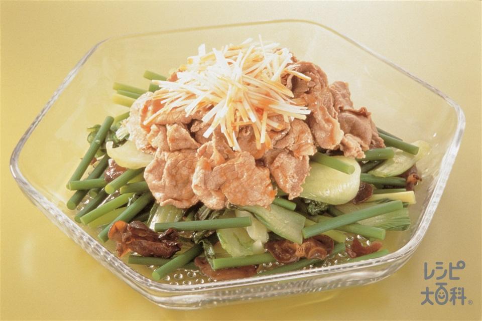 牛肉とにんにくの芽のサラダ風(牛ももしゃぶしゃぶ用肉+にんにくの芽を使ったレシピ)