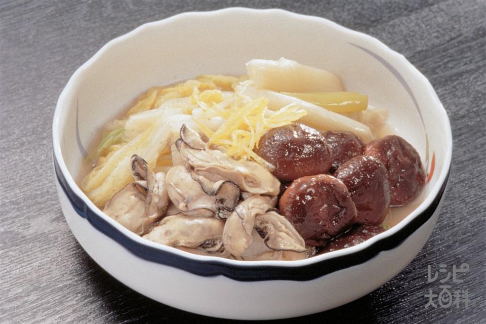 かき・しいたけ・ねぎの煮もの(かき(むき身)+白菜を使ったレシピ)