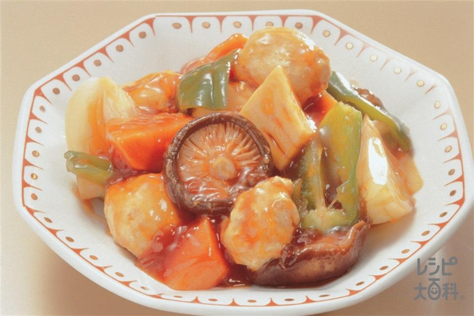 肉だんごの甘酢炒め(A鶏ささ身+Aパン粉を使ったレシピ)