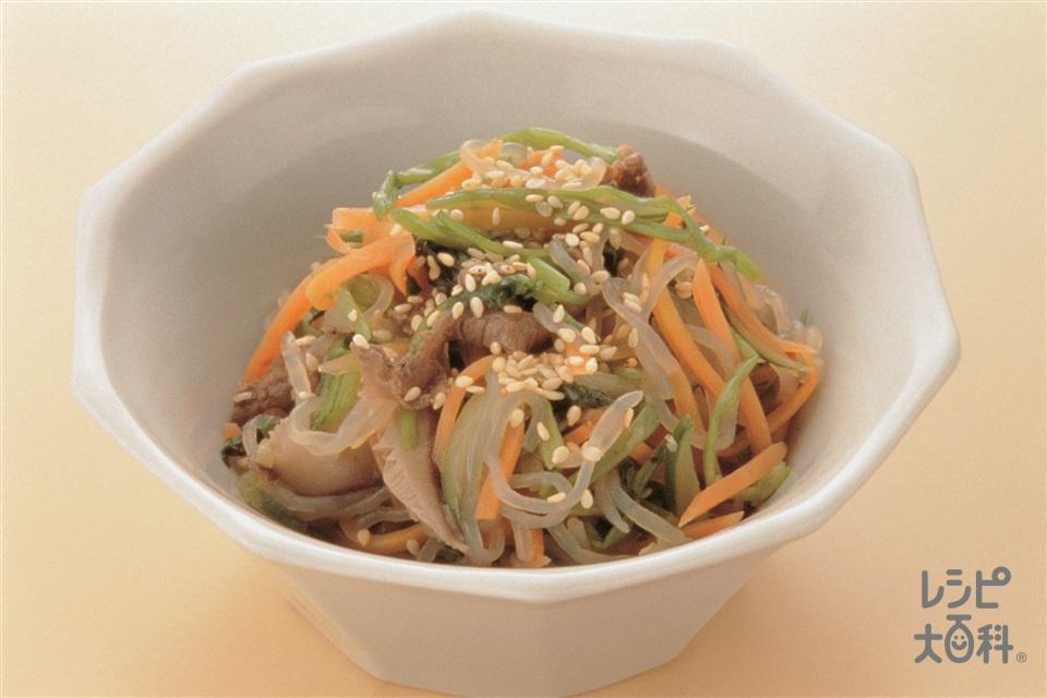 韓国風せん切りあえもの(牛もも肉+Aしょうゆを使ったレシピ)