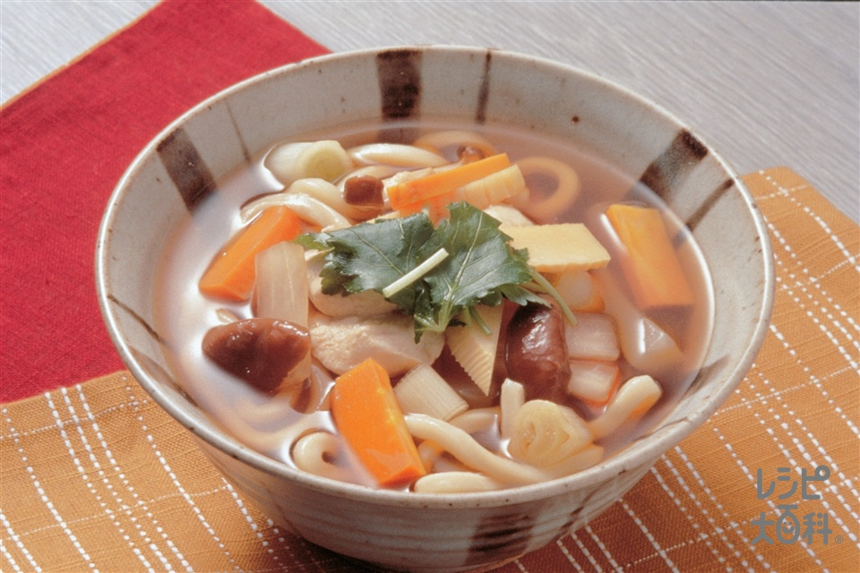 野菜うどん(鶏ささ身+ねぎを使ったレシピ)