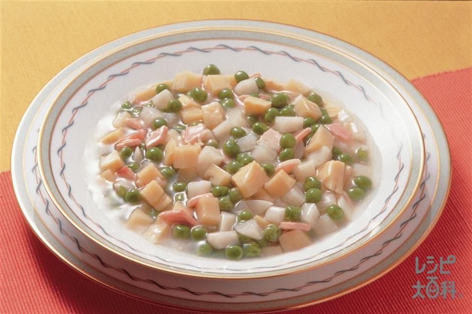 グリンピースとハムのスープ煮(ゆでたけのこ+かぶを使ったレシピ)
