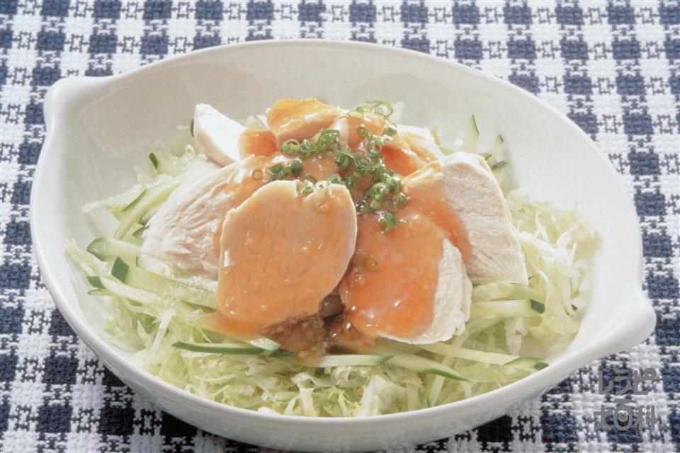 ゆで鶏のトマトレモンソースかけ(鶏むね肉+きゅうりを使ったレシピ)
