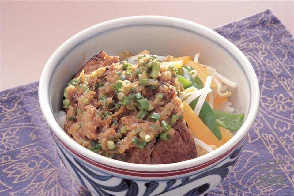 牛薬味ステーキ丼(牛もも肉+ご飯を使ったレシピ)