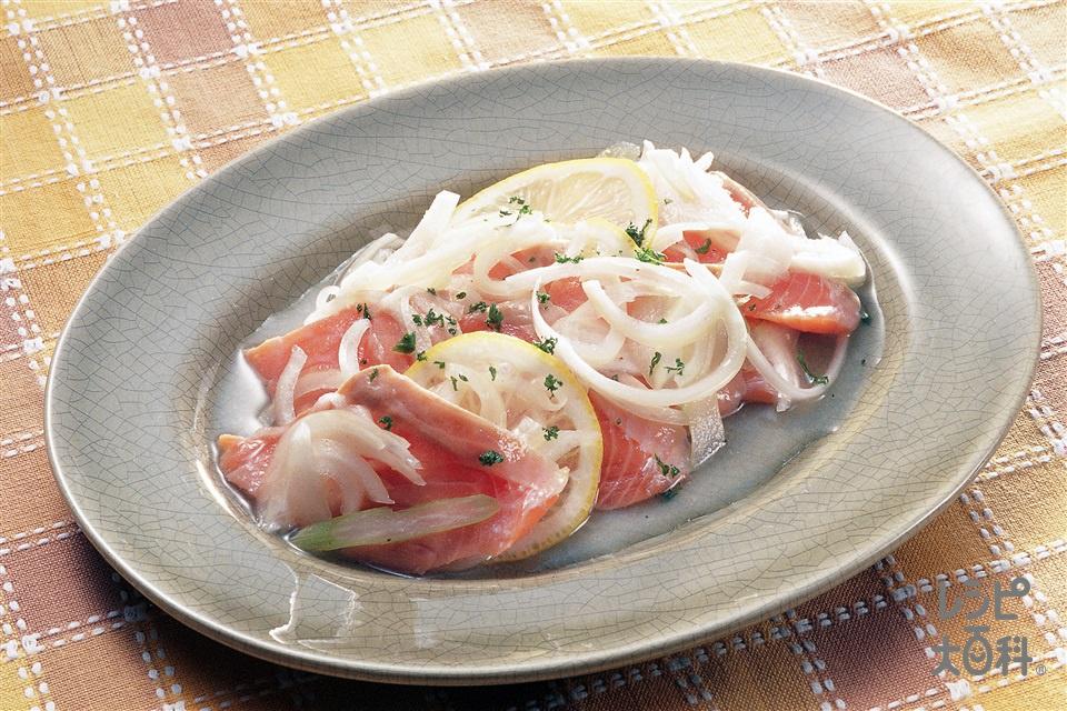 サーモンマリネ(サーモン(刺身)+玉ねぎを使ったレシピ)