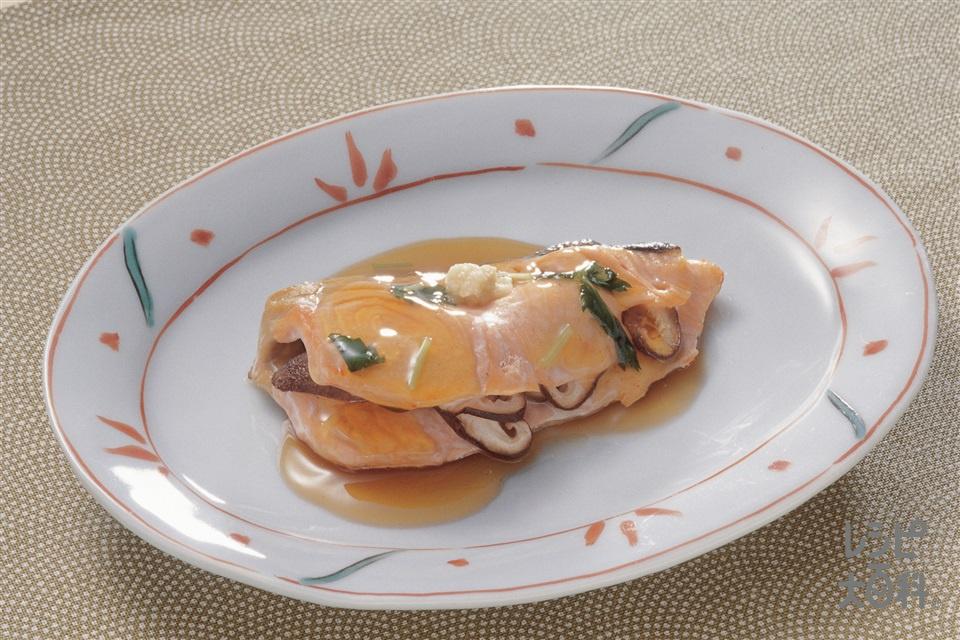 魚のしいたけはさみ焼き・べっ甲あん(さけ+しいたけを使ったレシピ)