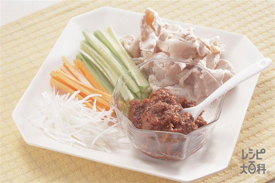 中華練りみそ&ゆで豚(りんご+豚もも肉を使ったレシピ)