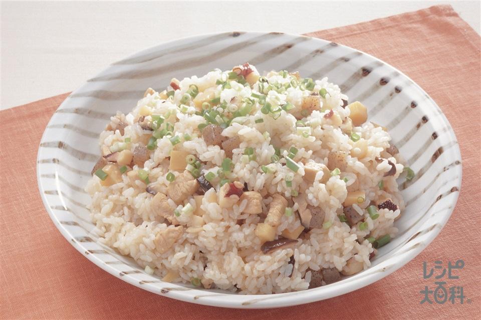 たこと鶏肉の混ぜご飯(米+たこを使ったレシピ)