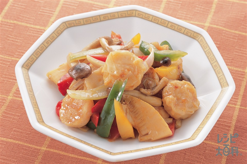 えびシューマイと野菜のオイスターソース(味の素冷凍食品KK「プリプリのエビシューマイ」+玉ねぎを使ったレシピ)