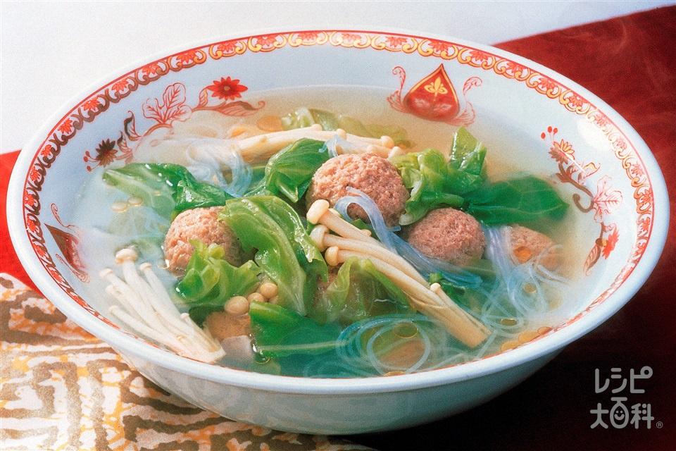 キャベツと肉だんごの中華スープ(キャベツ+豚ひき肉を使ったレシピ)