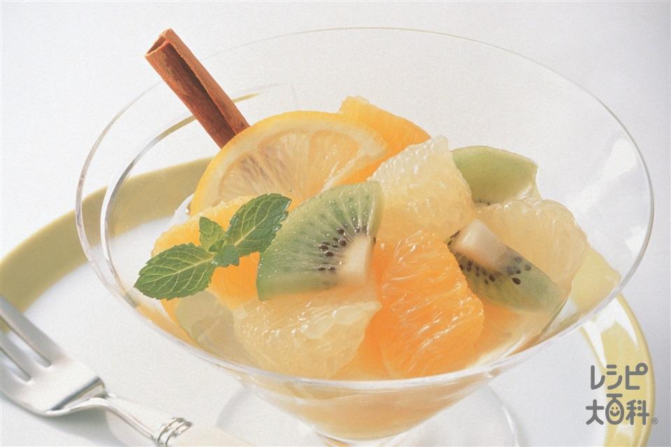 オレンジとグレープフルーツの簡単デザート(オレンジ+グレープフルーツを使ったレシピ)