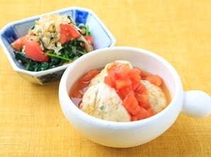 【優秀メニュー】「野菜たっぷり鶏だんごのトマトあんかけ」を主菜とした献立