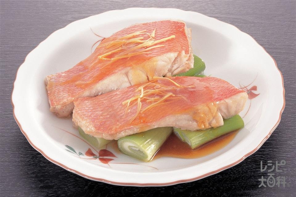 白身魚のレンジ蒸し(白身魚(きんめだい など)+ねぎを使ったレシピ)