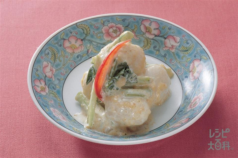 里いもと小松菜のごまマヨネーズあえ(冷凍里いも+小松菜を使ったレシピ)