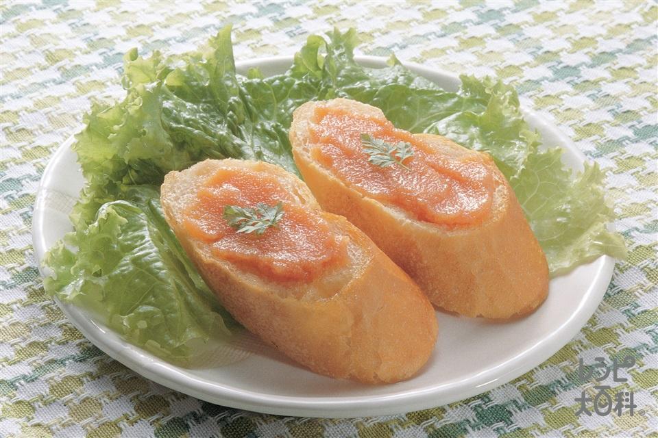 トースト たらこペースト添え(フランスパン+レタスを使ったレシピ)