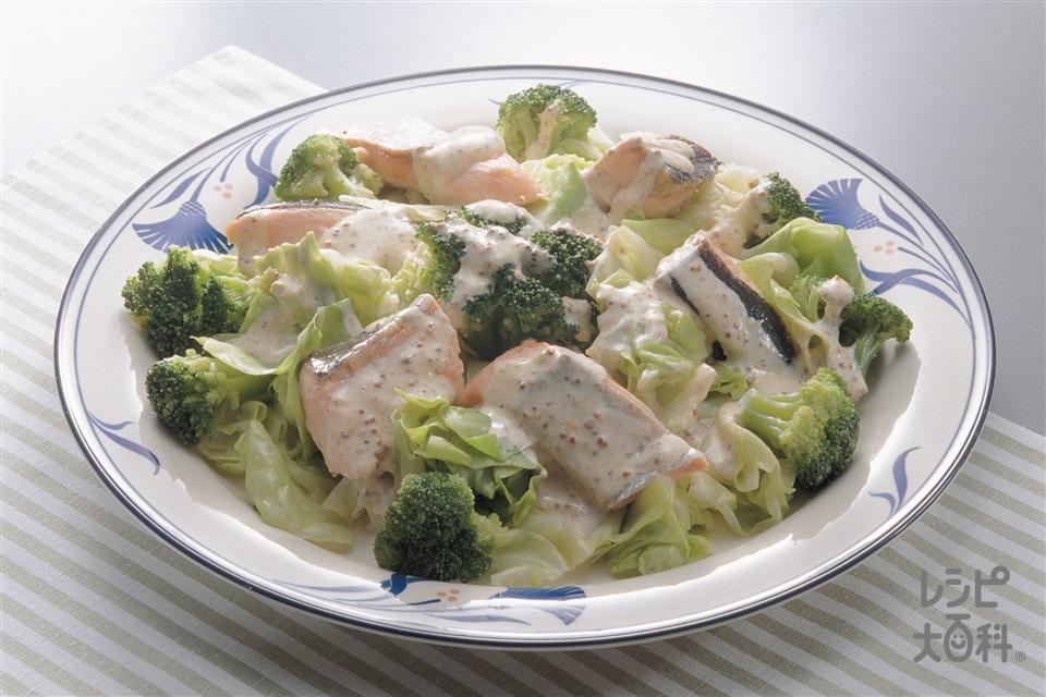サーモンソテーのマスタードサラダ(生ざけ+キャベツを使ったレシピ)