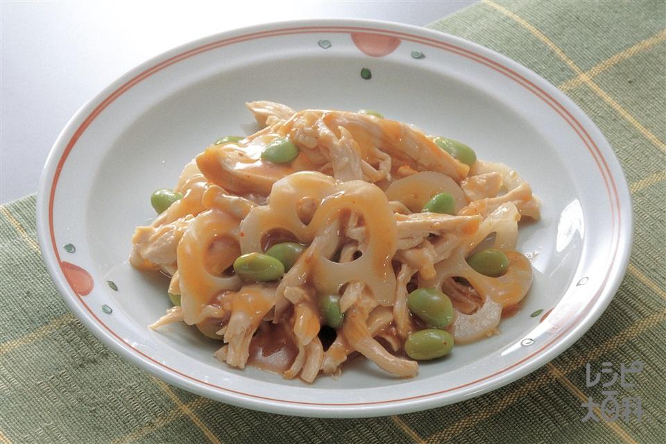 ずんだれんこんの棒棒鶏(鶏むね肉+冷凍枝豆を使ったレシピ)