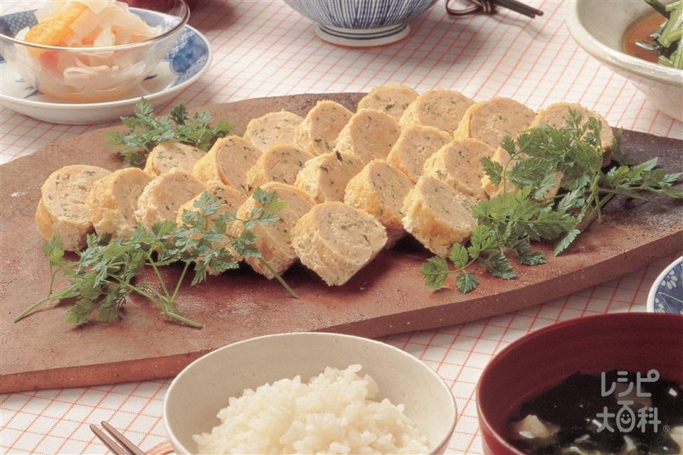 鶏ひき肉と油揚げのクルクル巻き(油揚げ+鶏ひき肉を使ったレシピ)
