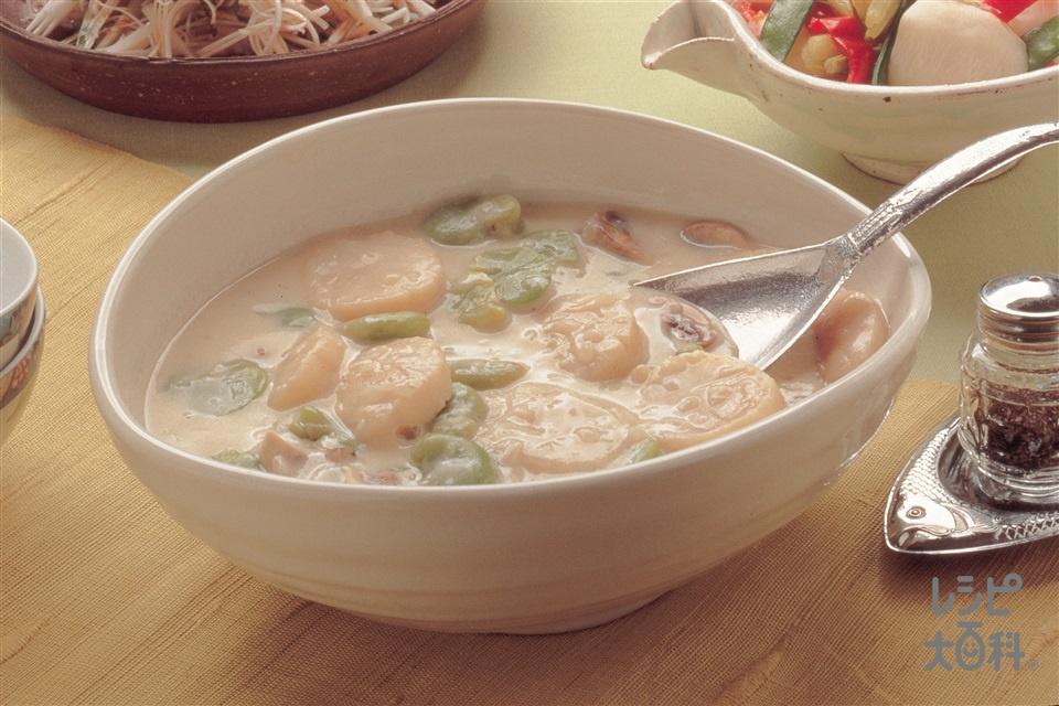 帆立貝とそら豆のクリーム煮(帆立貝柱+牛乳を使ったレシピ)