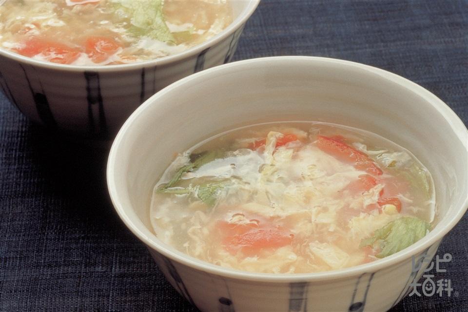 トマトとレタスのスープ(トマト+レタスを使ったレシピ)