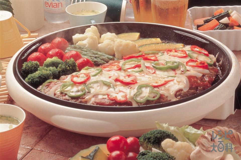 ジャンボピザバーグ(合いびき肉+かぼちゃを使ったレシピ)