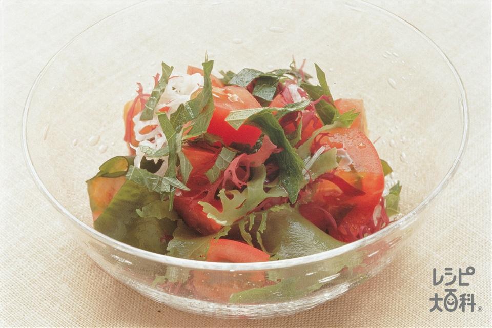 トマトと海藻のファイバーサラダ(トマト+海藻ミックスを使ったレシピ)