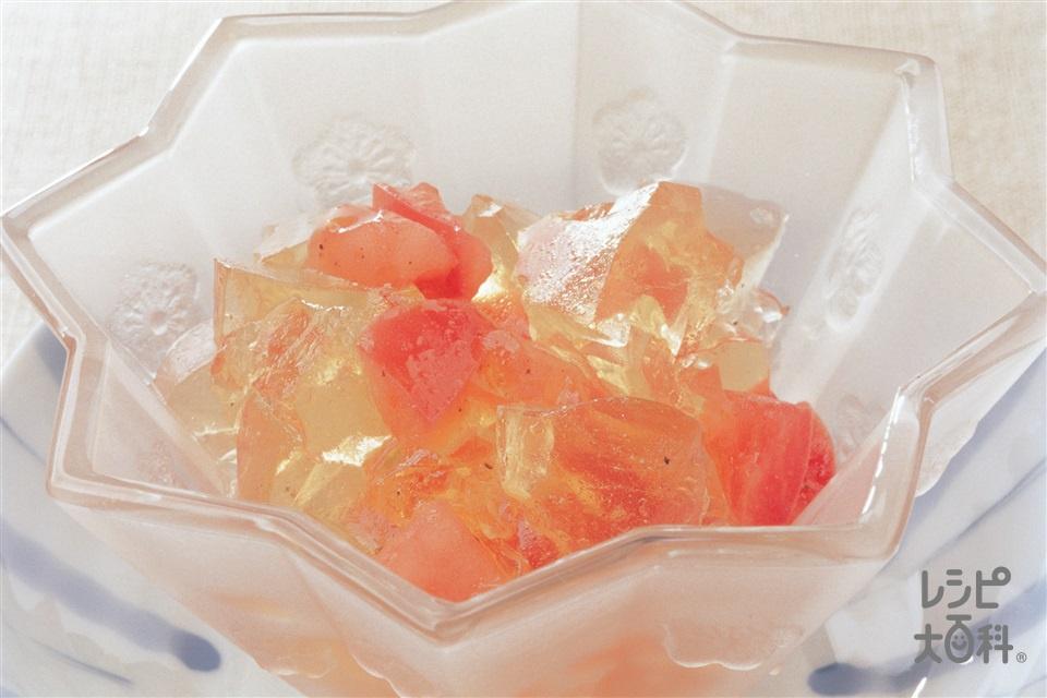 トマト「ほんだし」ゼリースープ(トマト+粉ゼラチンを使ったレシピ)
