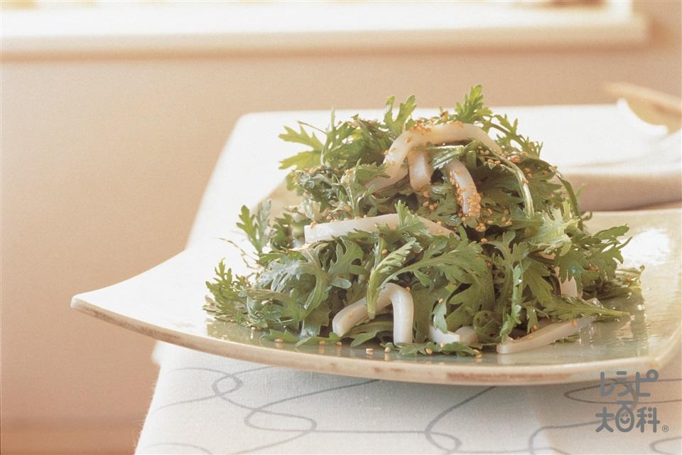 春菊といかのサラダ ホットドレッシング(春菊+いかを使ったレシピ)