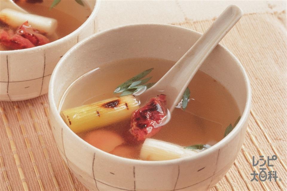 炒め梅干しと焼きねぎのスープ(梅干し+ねぎを使ったレシピ)